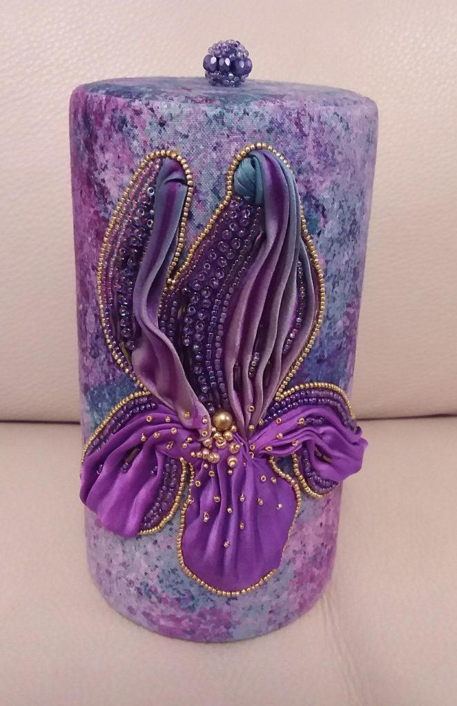 Judy J purple beaded iris pot